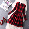 2016 otoño nueva moda de impresión de manga larga plaid dress cintura delgada respaldo vestidos ladies leather dress