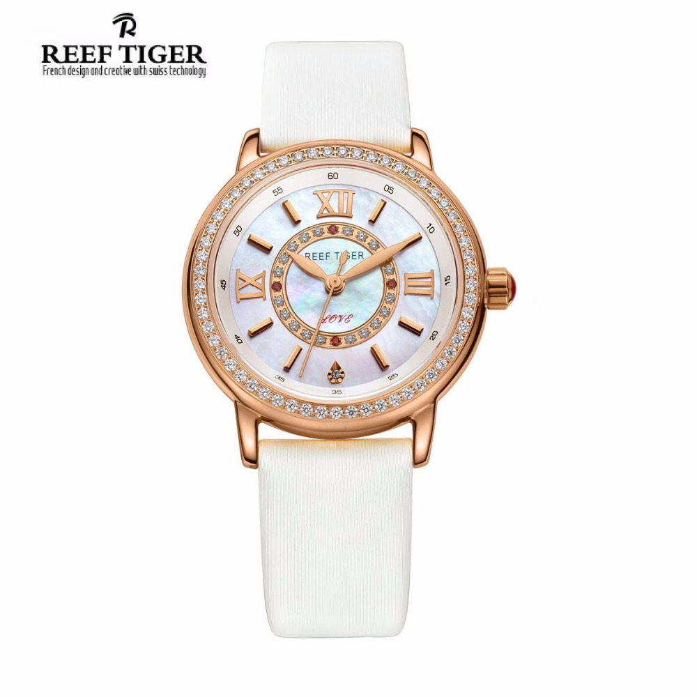 Reef Tiger/RT Elegant Charms Ladies Watches for Women with Quartz Movement Crystal Diamonds Silk Mix Leather Strap Watch RGA1563 top brand reef tiger rt watches luxury fashion ladies dress quartz black watch rose gold diamonds watch for women rga172