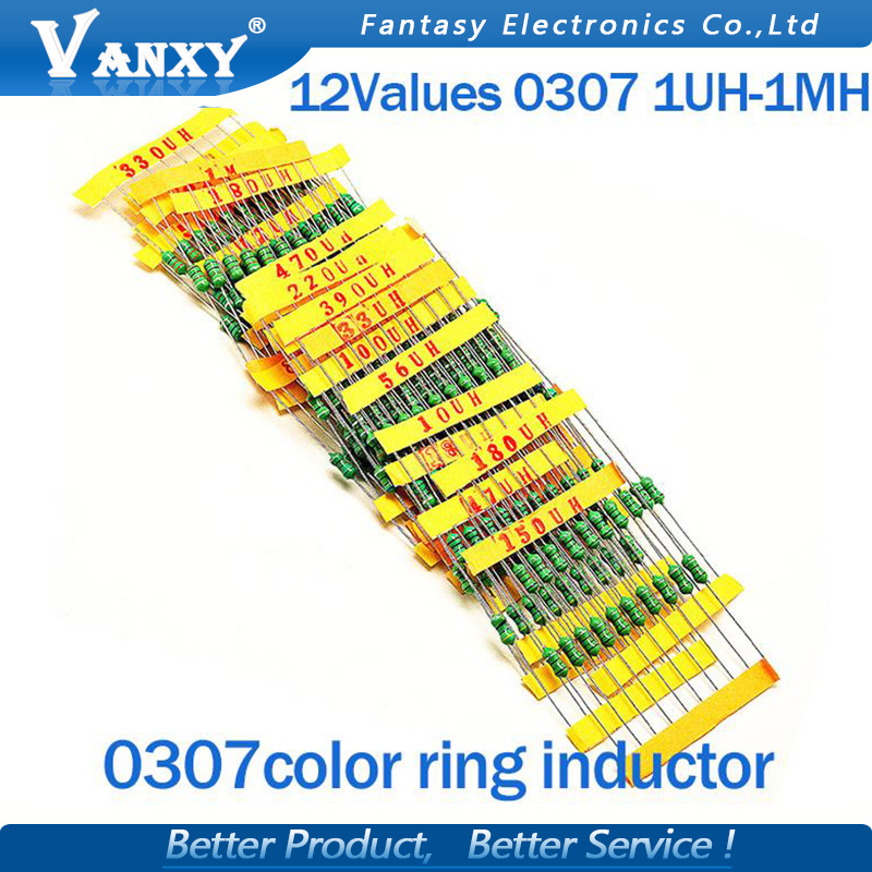 12valuesX10pcs=120pcs 0307 1/4W 0.25W Inductor  1uH-1MH Component Sample Assorted Kit New And