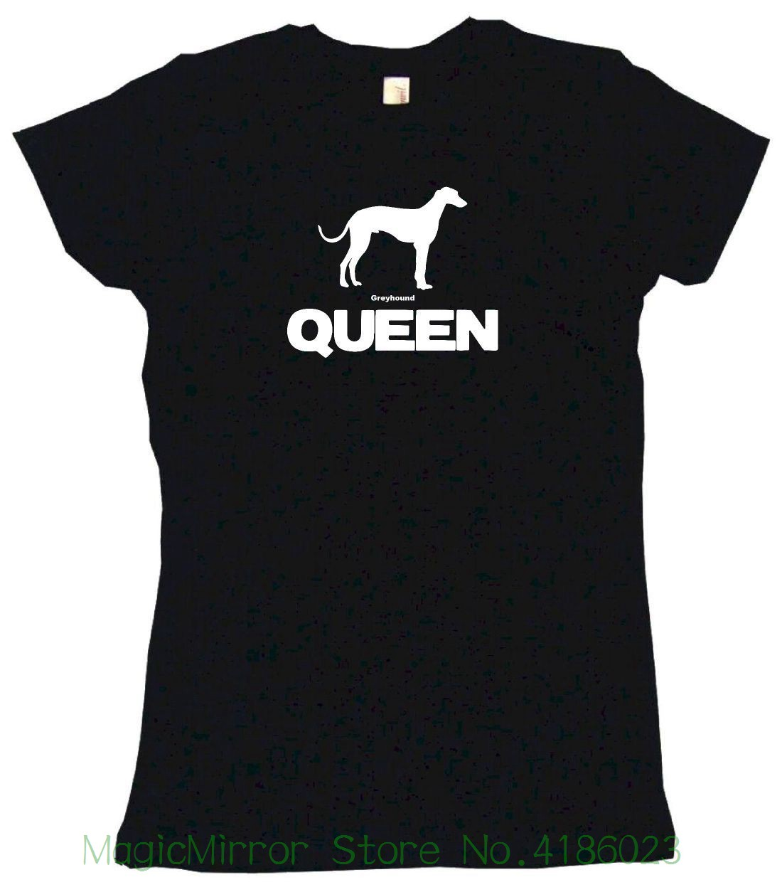 Greyhound Dog Queen Logo Womens Tee Shirt Pick Size Color Petite Regular Men T Shirt 2018 Fashion