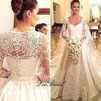 Vestidos de noiva New Design Long Wedding Dress 2017 V neck Long Sleeves Chapel Train Lace Satin A Line Wedding Gowns With Veil