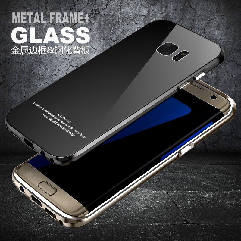 imágenes para Marca LUPHIE S7edge Metal Frontera de Aleación de Aluminio y Vidrio Templado De Nuevo cubierta Para Samsung Galaxy S6 S7 y S7 Borde Duro Armor caso