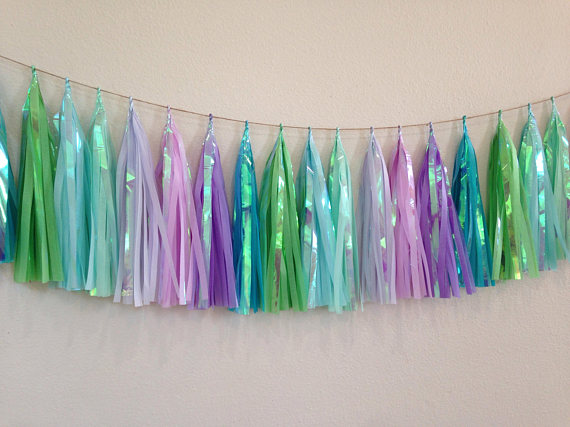 10ft mixed Purple blue lilac Green iridescent tassel garland kit of 18 Tassel(54sheets), providing you with the best value 1107