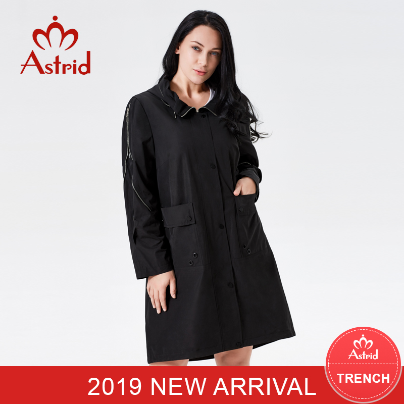 2019 Trench Coat Spring Girls Hooded Vogue Feminine Trench Garments Basic Manteau Femme Hiver Ukraine Women New Astrid As-7007