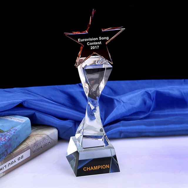 Customized Crystal Trophy Engraved Logo Or Words Glass Award Eurovision Song Contest Champion Awards Cup Sports