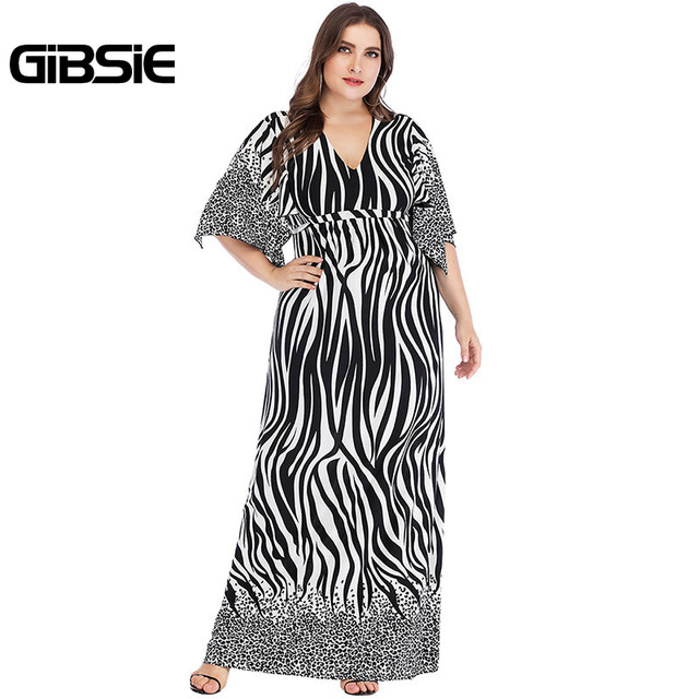 GIBSIE Zebra Print Summer Women Long Maxi Dresses 2019 Elegant Plus Size V Neck Tie Waist Casual Party Fit and Flare Dress 4
