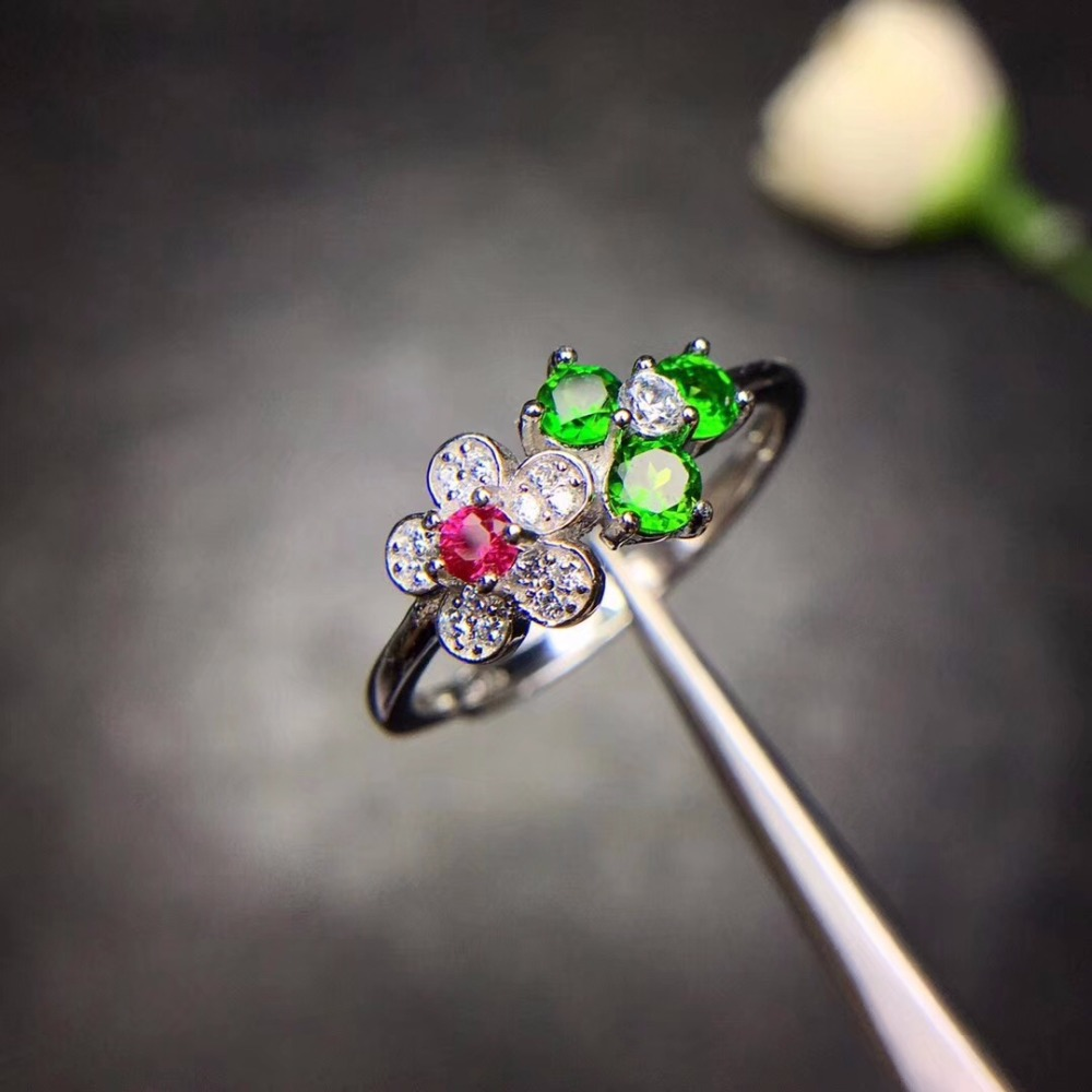 Women s Natural Diopside Flower Rings 925 Sterling Silver 5 5mm 3Pcs Gemstone Birthstone Jewelry Certificate