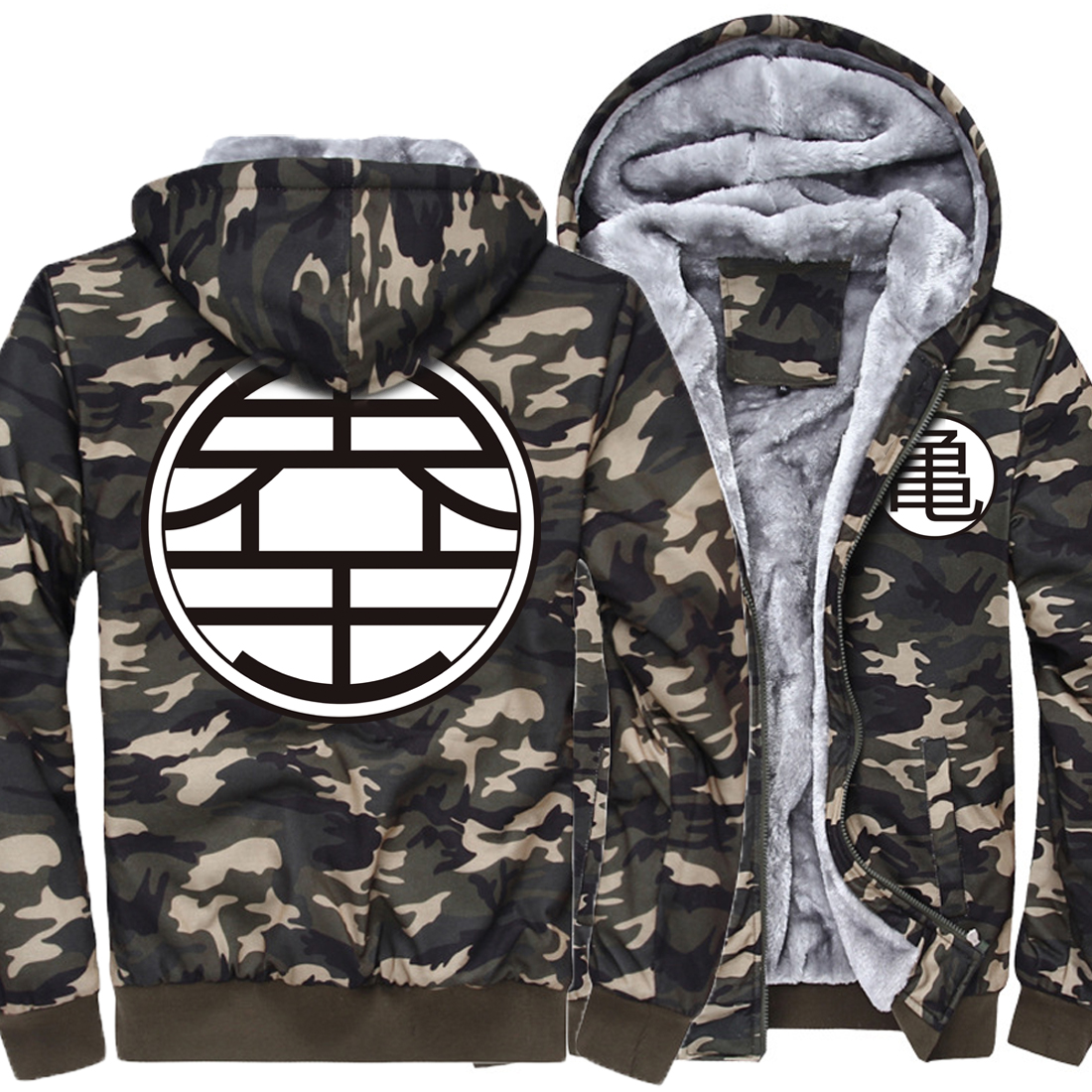 2019 Camouflage Thick Winter Hoodies For Men print Anime Dragon Ball Men High Quality Streetwear Hipster Men's Sportswear Hoodie