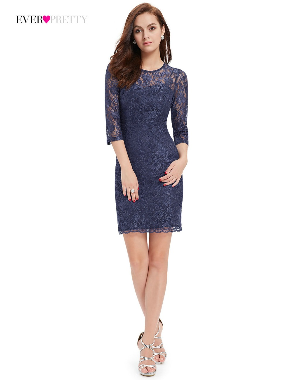 02f0a1ad9c  Clearance Sale  New Cocktail Dress Ever Pretty HE03792 Women Short Unique  lace Lace 3 4 Sleeve Elegant Cocktail Dresses-in Cocktail Dresses from  Weddings ...