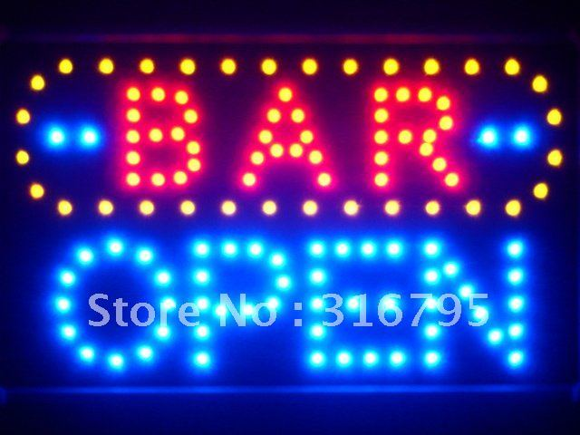 led072-b BAR OPEN LED Neon Sign WhiteBoard