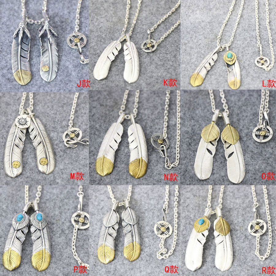 Starfield Takahashi Goro Feather Eagle Claw Pendant S925 Sterling Silver Retro Thai Silver Combination Set Necklace Men Women eagle claw alloy feather necklace