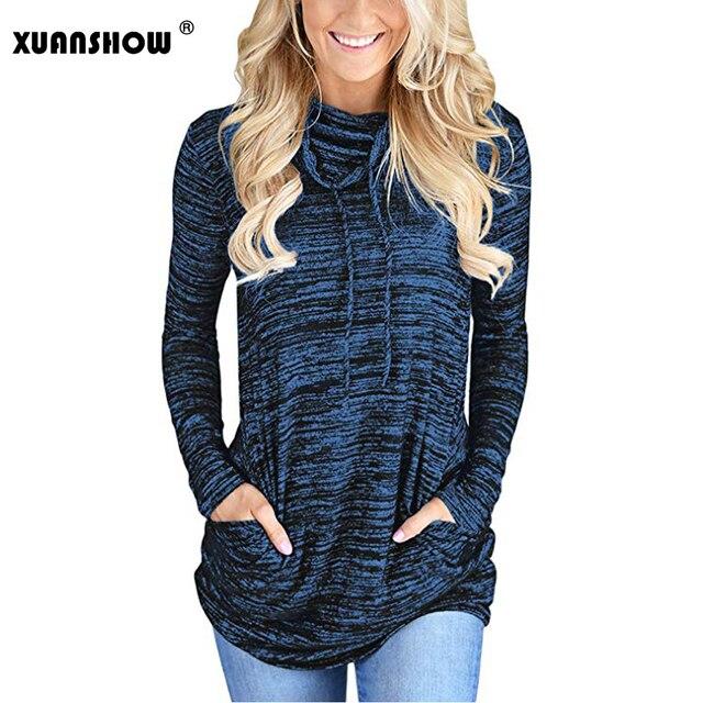XUANSHOW-sweat-shirt à manches longues avec col rond et poches, Slim et solide, tendance automne 2018