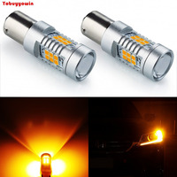 2PCS 1156 BA15S 2835 21SMD Orange Amber LED Bulbs Back Up Reverse Lights Car Brake Lights