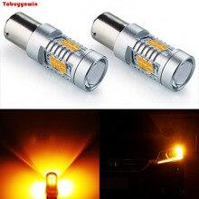 New 2PCS 1156 BA15S 2835 21SMD Orange/Amber LED Bulbs Back Up Reverse Lights Car Brake Lights Car Tail Light Cornering Lamps DRL