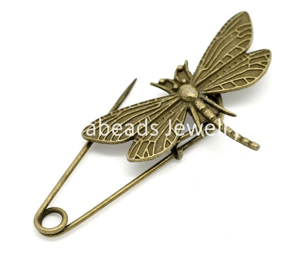 10 Bronze Tone Dragonfly Safety Pins Brooches 6.9x3cm (B15246)