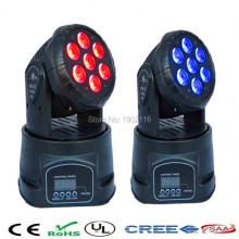 2pcs/lot Free&Fast shipping Best quality led mini wash moving head light 7x12w rgbw quad DMX 14 channels dj disco party lights