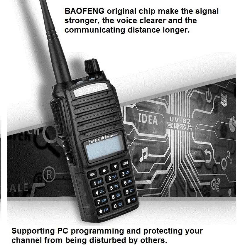 2 uds $TERM impacto BAOFENG UV-82 8W Walkie Talkie 10KM UHF, VHF 2800mAh Dual PTT portátil jamón estación de Radio CB Radio de dos vías móvil Woki Toki