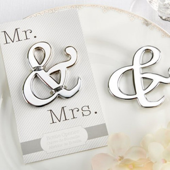 """50Pcs Wholesale """"Mr. and Mrs."""" Ampersand Bottle Opener Favor For Party Supplies Silver Wedding Gift For Guest Free Shipping Lot"""