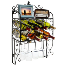 Metal iron Wall Mounted 8 Bottle & 6 Glass Stemware Wine Rack Display Storage Organizer Top Shelf