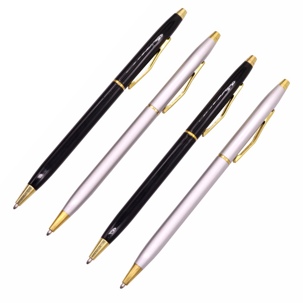 GOOD QUALITY Metallic Signature Pen Stainless Steel Rod Rotating Metal Ballpoint Pen Commercial Ballpoint Pen Gift Stationery