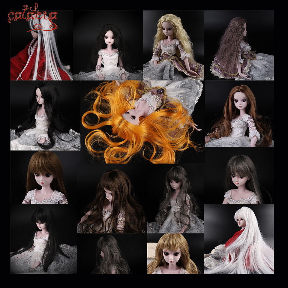 Cataleya Free Shipping 1/3 1/4 Bjd Hair High Temperature Long Gray Straight And Curly Bjd Wig SD For BJD Doll Free Shipping