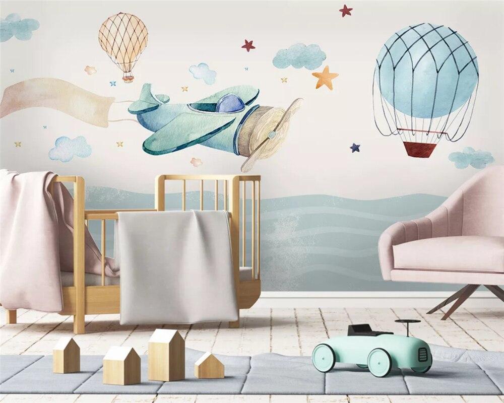 Beibehang Custom Nordic Modern Hand Drawn Airplane Hot Air Balloon Children Background 3d Wallpaper Papel De Parede Papier Peint