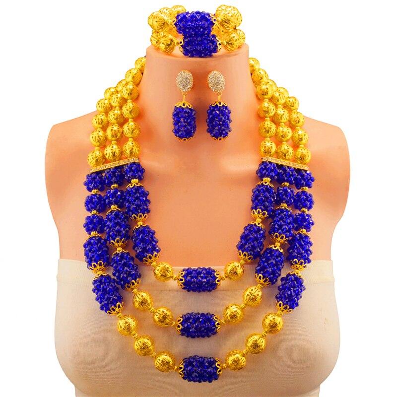 Cadeau de mariée mariage nigérian perles africaines blanches ensemble de bijoux de mode Dubai or ensembles de bijoux conception de Costume grand collier