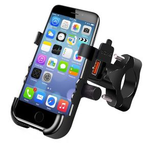 Image 5 - Aluminum Alloy Motorcycle Handlebar Mirror 12V Waterproof QC 3.0 USB Quick Fast Charger Mobile Phone Holder Mount Stand for 4.3