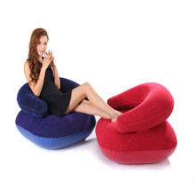 Dropshipping Inflatable Flocked PVC Sofa for Kids Adults Lounge Air Bean Bag Armchair in Living Room Office Outdoor Puff Sofa(China)