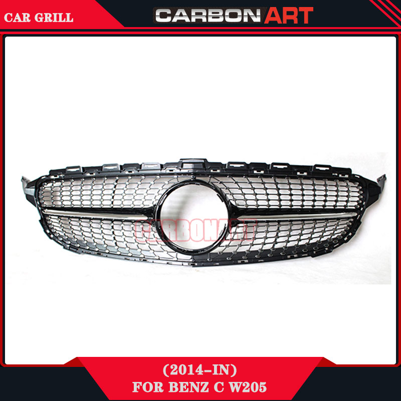 W205 Grille Sport Edition Diamond Grill for C Class Mercedes Auto Racing Grille Mesh 2015 2016 Car Spare Parts