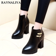 Women Soft Genuine Leather Shoes Woman Sexy Pointed Toe High Heeled Winter Autumn Ankle Boots Retro Buckle Martin Boots CH-A0026 lovexss woman metal decoration high heeled ankle boots autumn winter plus size 33 43 shoes black gray genuine leather boots
