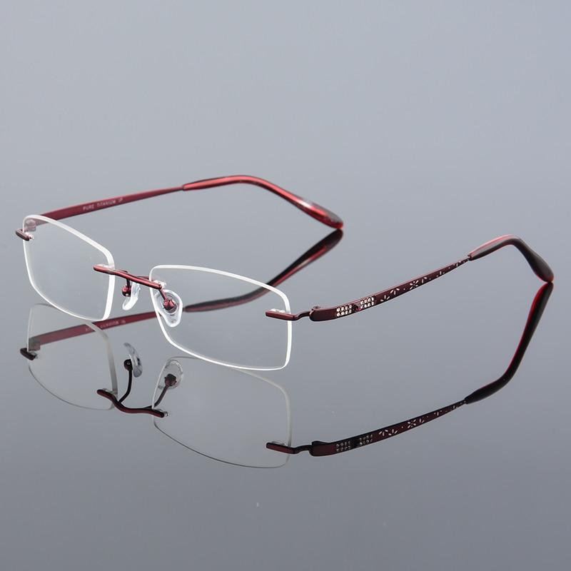 2017 XINZE New Pure Titanium Fashionable Lady Eye Glasses Diamonds - Kläder tillbehör - Foto 4