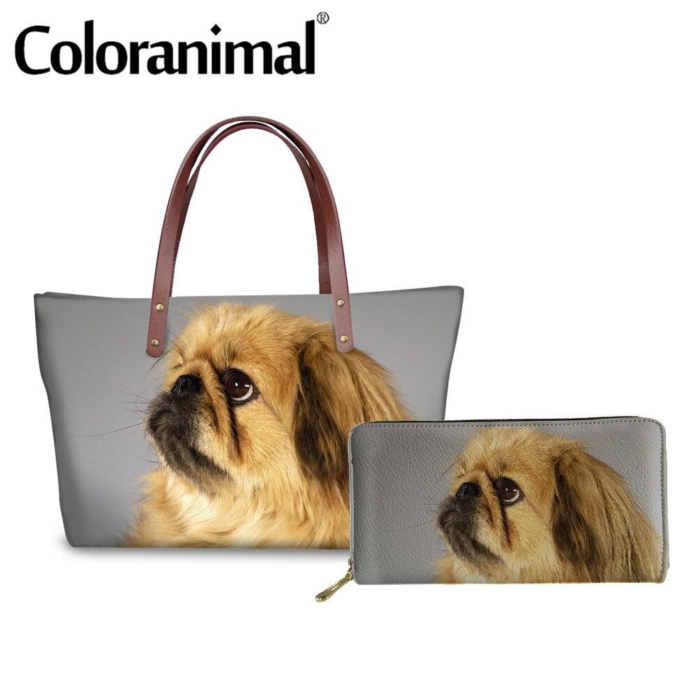 Coloranimal Top-handle Bag Women Handbag Luxury Design Lady Shopper Bag Large Fashion Tote Bag Pekingese Dog Print 2pcs Set Bags