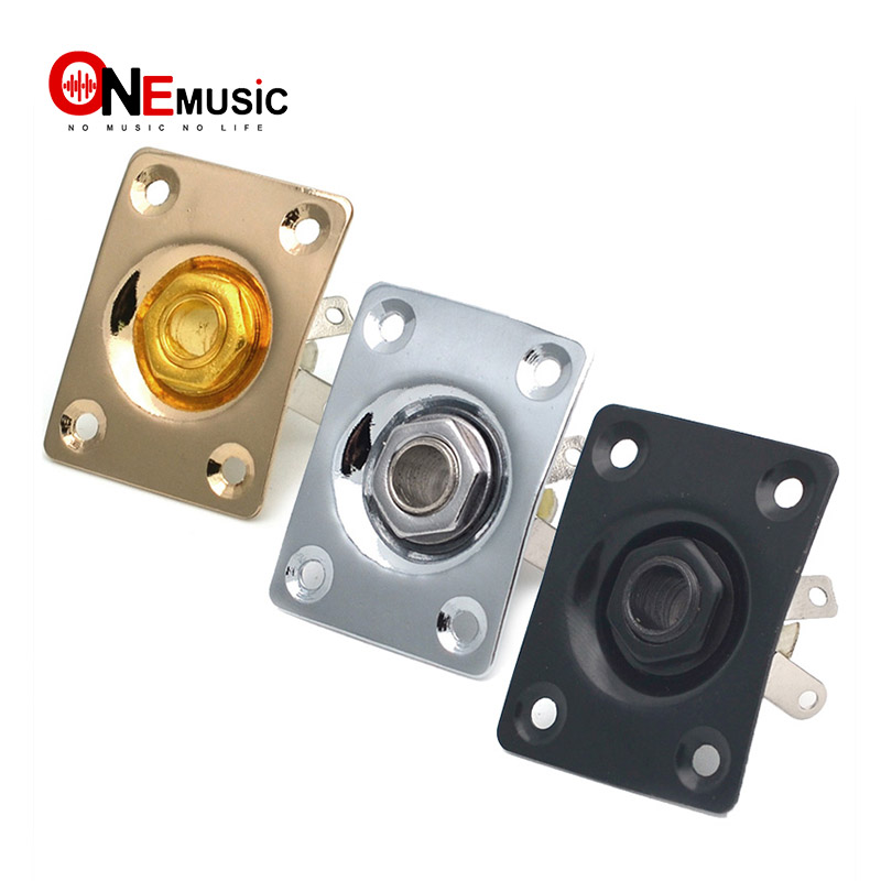 Square Style Jack Plate Guitar Bass Jack 1/4 Output Input Jack for LP SG Tele Electric Guitar Chrome Black Golden image