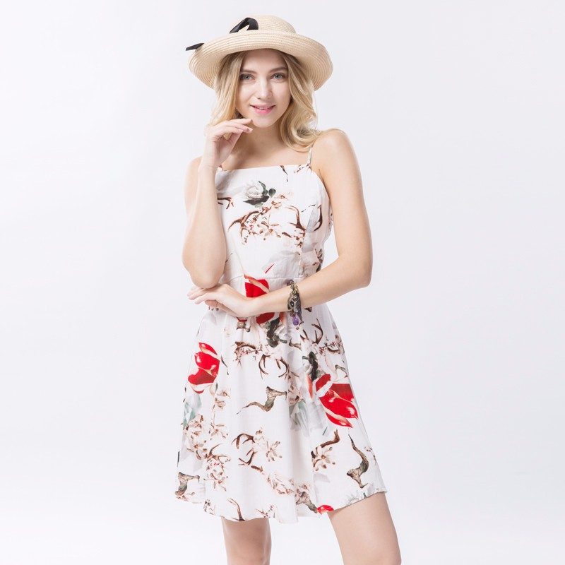 2017 Spring Vintage Floral Dress Women Casual Spaghetti Strap Dresses Female Beach Mini Dress For Women Large Size Sexy Vestidos 8