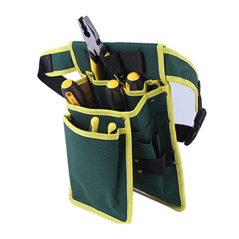 緑のキャンバスネイルバッグ 7 仕様肥厚キャンバスバッグ多目的キャンバスキット水電気技師簡単アクセスツールバッグ