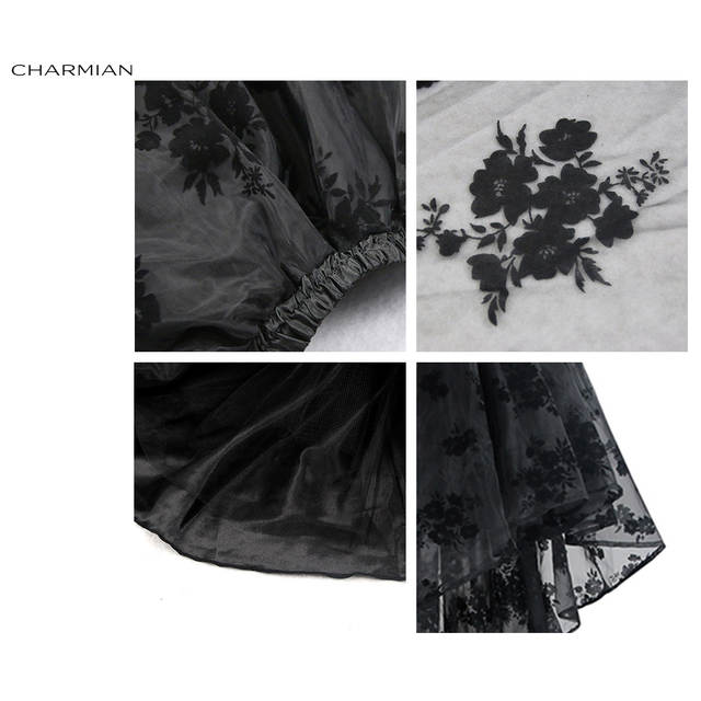 62391997af86 Charmian Women s Steampunk Gothic Vintage Skirt Floor Length Sexy Wedding Party  High Low Black Floral Lace