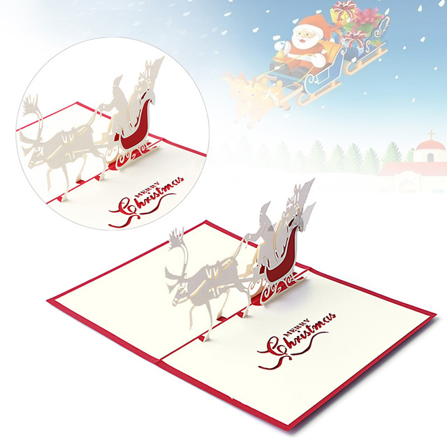 2017 neue 3D Pop Up Santa Pferdeschlitten Grußkarte Frohe ...