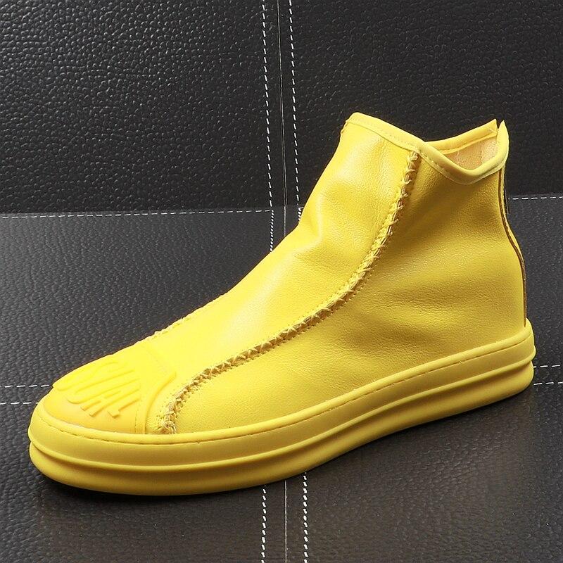 CuddlyIIPanda Yeni Varış 2019 Erkekler Moda Rahat yarım çizmeler Yaz Deri Fermuar Yüksek Top günlük ayakkabı Erkek Nefes Ayakkabı'da  Grup 1