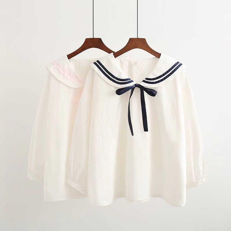 85dfbf4bba671c Japanese Student Uniform Navy Style Women Loose Shirt Sailor Collar Cute  Lovely Mori Girls Cotton Casual