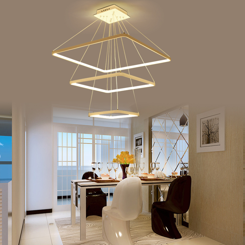 creative LED Pendant lamps Modern simple square dining room Pendant Lights office front ring lighting bedroom living FG97 modern living room light dining ring led crystal pendant lights room three bedroom creative personality pendant lamps