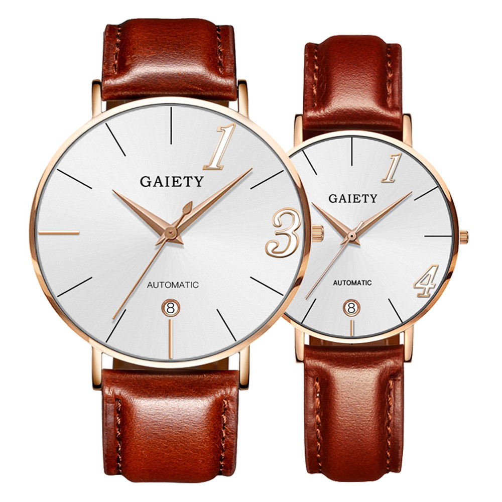 Couple Watch Quartz Men's Ladies Wrist Watches Analog Brown Fashion Simple  Leather Strap Valentine Love Birthday Gift F306