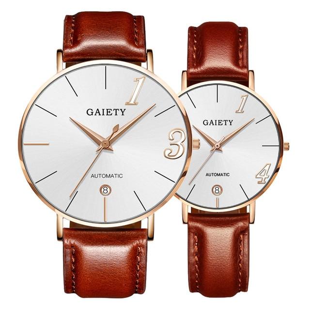Couple Watch Quartz Men's Ladies Wrist Watches Analog Brown Fashion Simple Leath