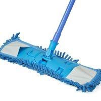 Smallwise Trading Extendable Microfibre Mop Kitchen Noodle Mop Vinyl Wood Floor Cleaner Blue