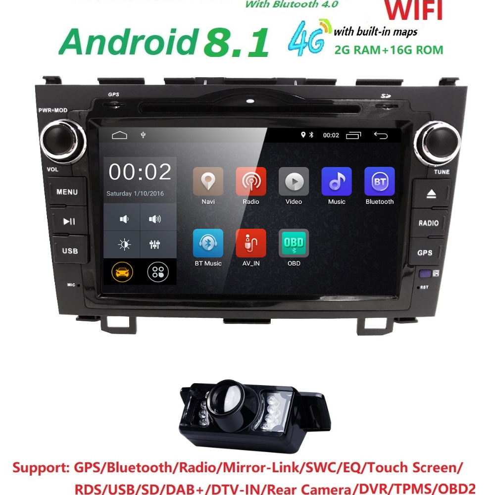 Android 8.1 HD 1024 * 600 Bil DVD-spelare Radio För Honda CRV 2007 2008 2009 2010 2011 4G WIFI GPS Navigation Head Unit 2 din 2GRAM