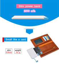 Banco de Energia Powerbank para Iphone Mini Cartão Fino Móvel 2500 MAH 6 Mais 5 5S 5C para S3 S4 S5 Nota 4 3 Xiaomi Pb001