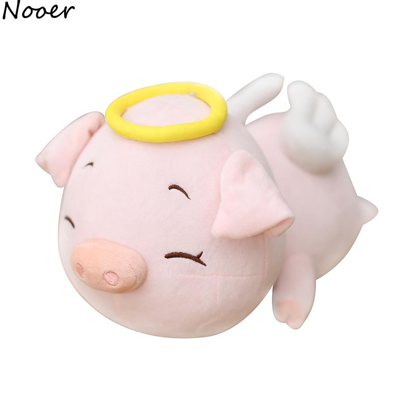 Nooer Kawaii Soft Pink Pig Doll Plush Toy Cartoon Angel Pig Doll Stuffed Pillow Gift For Children Kids Drop Shipping Wholesale nooer plush bull terrier dog kids baby toy super soft sleeping pillow for children birthday christmas gift free shipping