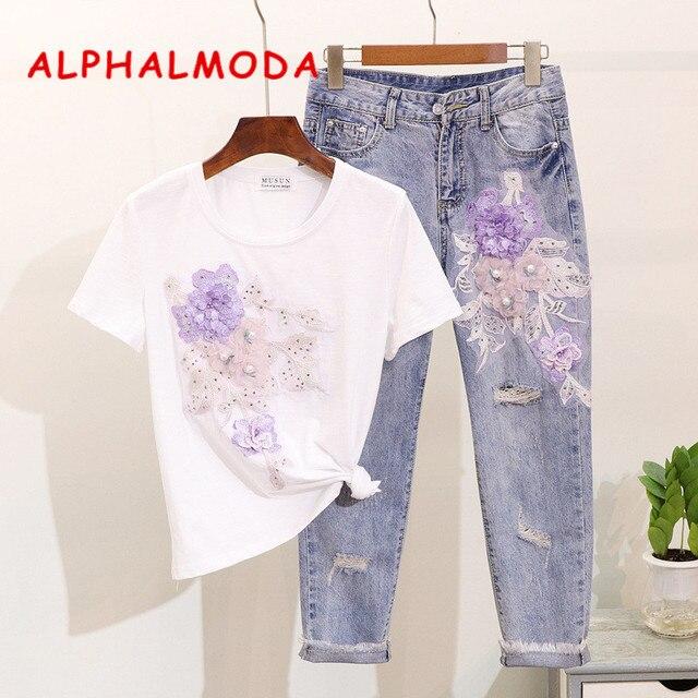 ALPHALMODA 2019 Summer Beaded Flower Conjuntos De Mujer Embroidered Appliqes Tshirts Broken Holes Pencil Denim Pants Clothing