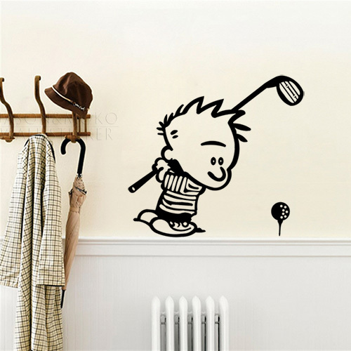 ộ ộ Funny Bad Boy Calvin Golfing Wall Decal Stickers Living Room