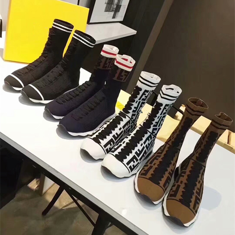 2018 Hot Womens Boots Round Toe Elastic Ankle Boots Flat Shoe Woman Female Fashion 4cm heels Stretch Socks Boots